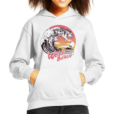 Wolf Beach Great Wave Kid's Hooded Sweatshirt by crbndesign - Cloud City 7