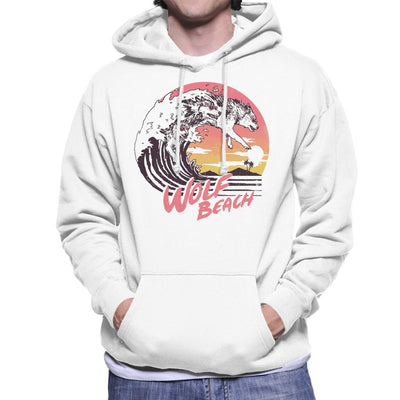 Wolf Beach Great Wave Men's Hooded Sweatshirt by crbndesign - Cloud City 7