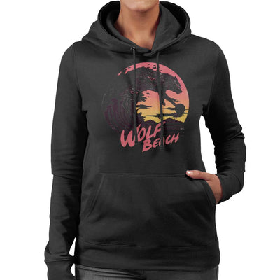 Wolf Beach Great Wave Women's Hooded Sweatshirt by crbndesign - Cloud City 7