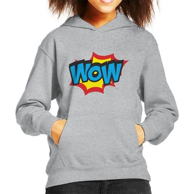 Wow Comic Book Style Text Kid's Hooded Sweatshirt by crbndesign - Cloud City 7