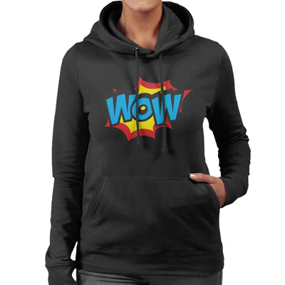 Wow Comic Book Style Text Women's Hooded Sweatshirt by crbndesign - Cloud City 7