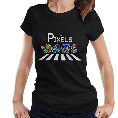 The Pixels Link Mega Man Sonic Mario Abbey Road Women's T-Shirt by Douglasstencil - Cloud City 7