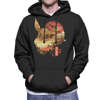 Ukiyo Eevee Pokeball Mountain Montage Men's Hooded Sweatshirt by dandingeroz - Cloud City 7