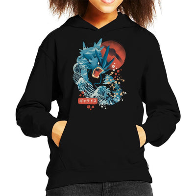 Ukiyo Gyarados Pokeball Sea Montage Kid's Hooded Sweatshirt by dandingeroz - Cloud City 7