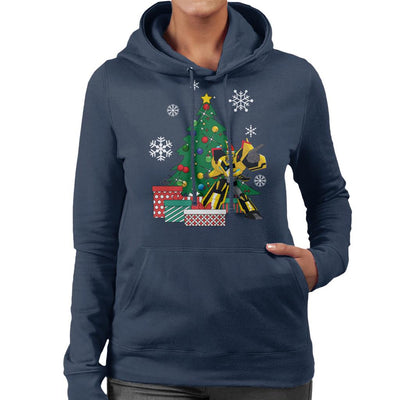 Bumbleebee Transfromers Around The Christmas Tree Women's Hooded Sweatshirt by Nova5 - Cloud City 7