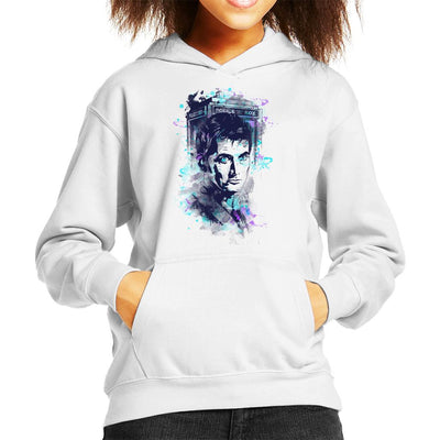 Water Colour Doctor Who David Tennant Kid's Hooded Sweatshirt by Donnie - Cloud City 7