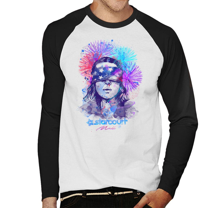 Water Colour Upside Down Stranger Things Men's Baseball Long Sleeved T-Shirt by Donnie - Cloud City 7