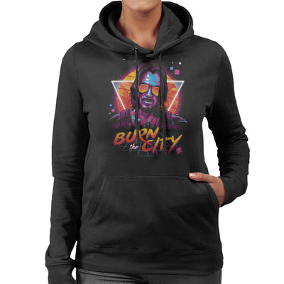 Burn The City Johnny Silverhand Cyberpunk 2077 Women's Hooded Sweatshirt by Olipop - Cloud City 7