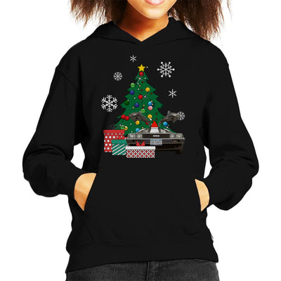Delorean Around The Christmas Tree Kid's Hooded Sweatshirt by Nova5 - Cloud City 7