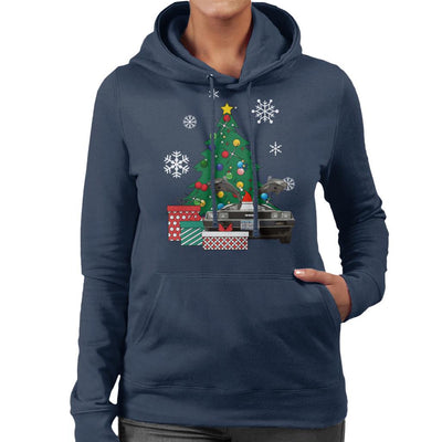 Delorean Around The Christmas Tree Women's Hooded Sweatshirt by Nova5 - Cloud City 7