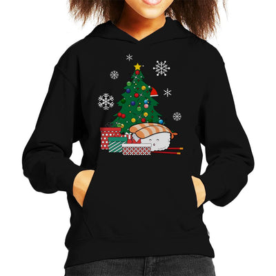 Happy Sushi Around The Christmas Tree Kid's Hooded Sweatshirt by Nova5 - Cloud City 7