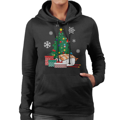Happy Sushi Around The Christmas Tree Women's Hooded Sweatshirt by Nova5 - Cloud City 7