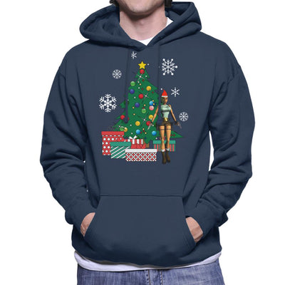 Lara Croft Around The Christmas Tree Men's Hooded Sweatshirt by Nova5 - Cloud City 7