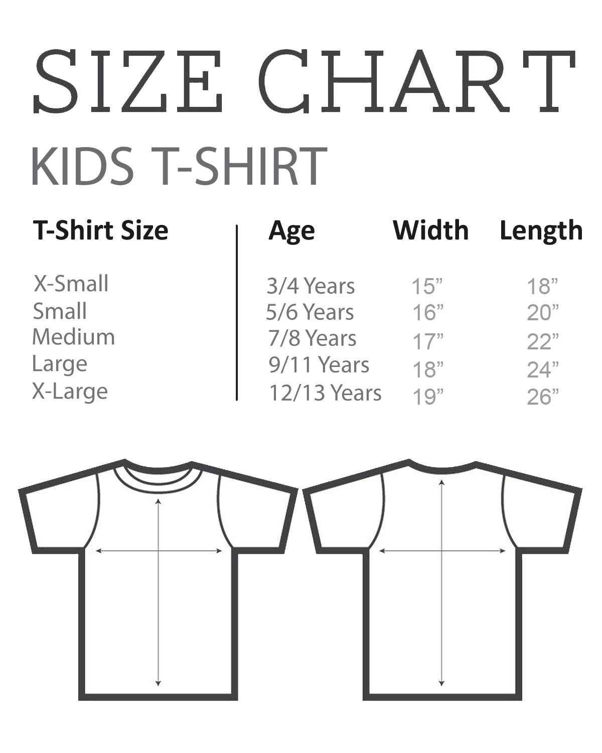 Size chart for Kid's Boy's T-Shirt
