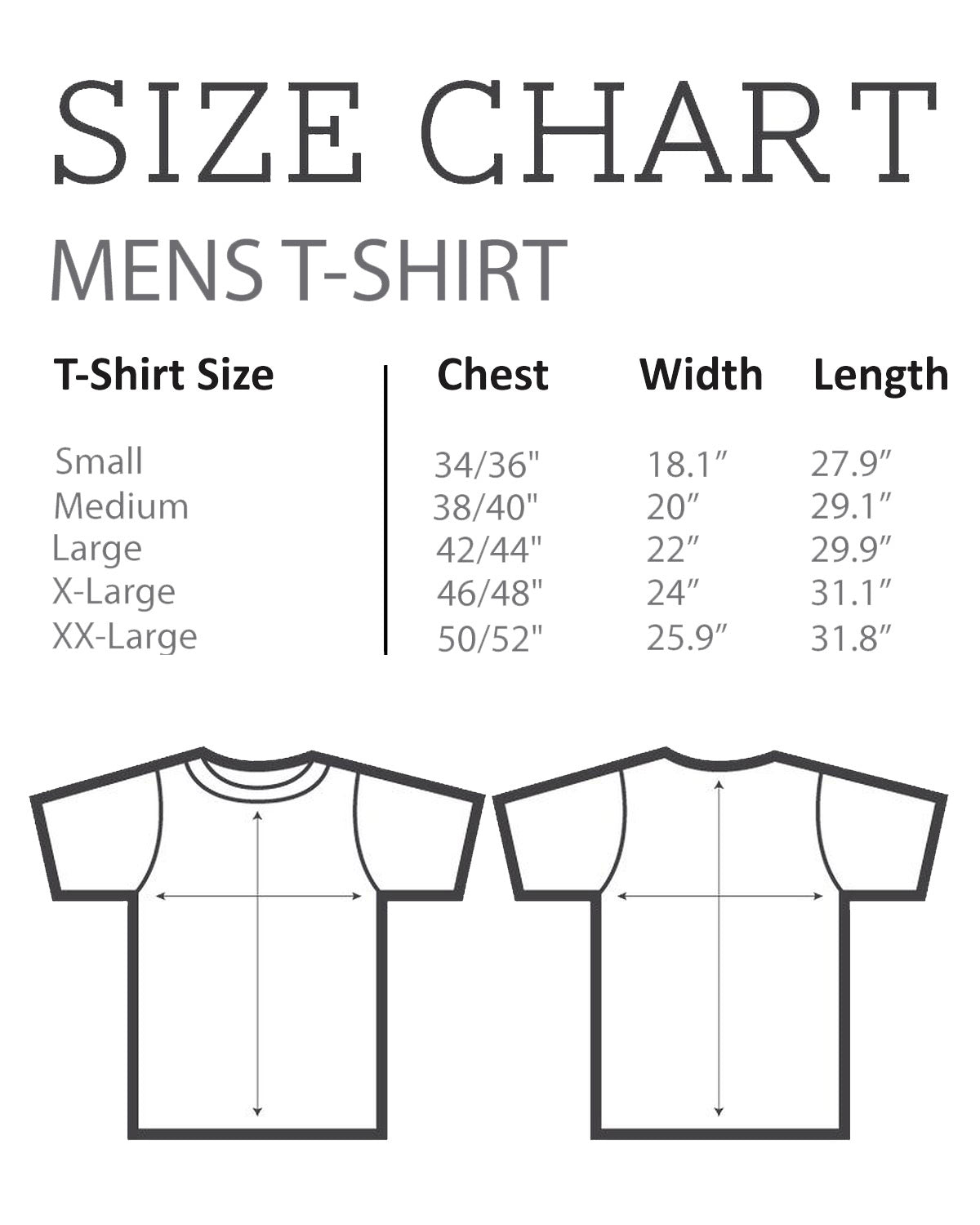 Size chart for Men's T-Shirt