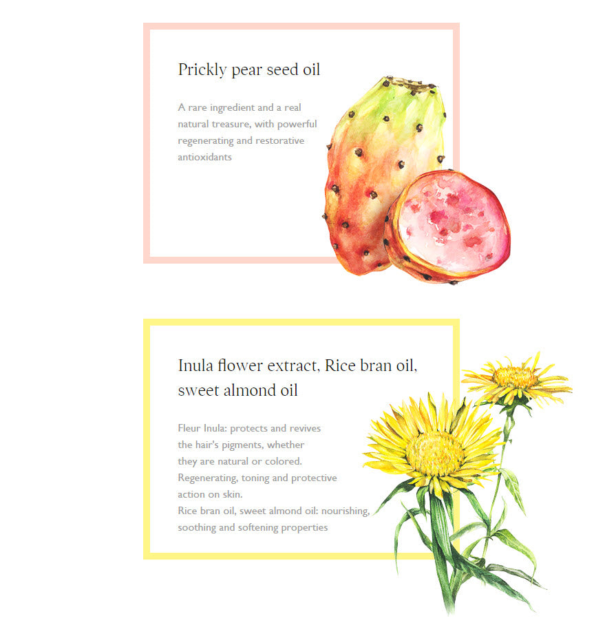 Prickly Pear seed oil and Inula flower extract and Rice bran oil and Sweet Almond oil