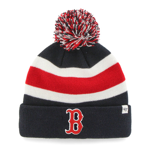 Boston Red Sox Navy and Red Stripe Breakaway Pom Knit