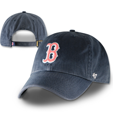 Boston Red Sox Womens Clean-Up Navy w/ Pink Adjustable hat