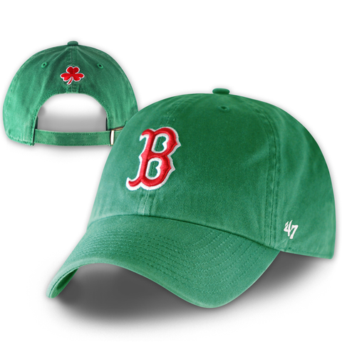 Boston Red Sox Clean-Up Kelly St. Pat's Adjustable Hat with Shamrock on the back