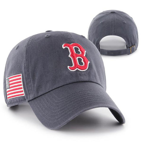 Boston Red Sox Clean-Up Navy Heritage B Flag Side Adjustable Hat