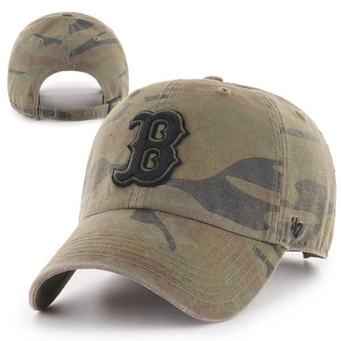 Boston Red Sox Clean-Up Movement B Camo Adjustable Hat with American Flag on the side