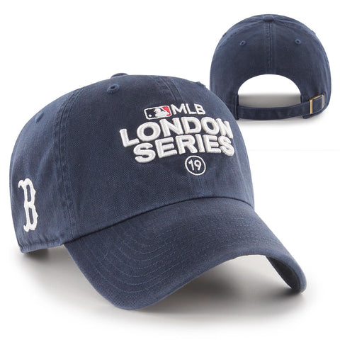 London Series Red Sox Side Hit Navy Adjustable Clean Up,  100% cotton hat with the London Series logo on the front and the Red Sox B logo on the side