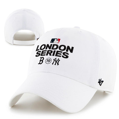 Soft cotton white adjustable clean up cap with the London Series Logo and Red Sox vs Yankees logos.