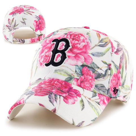 Boston Red Sox Womens Clean-Up Peony White Adjustable Cap