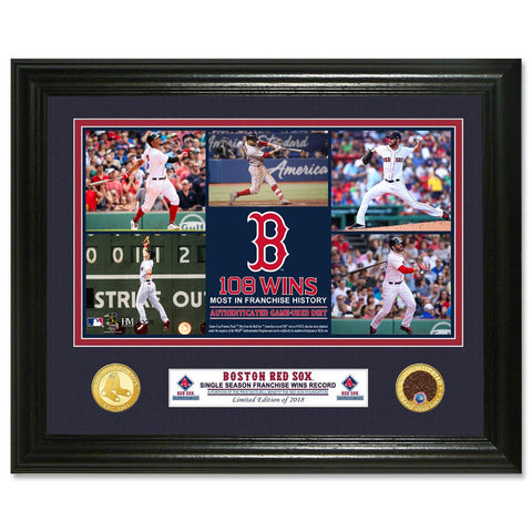 Boston Red Sox 2018 Single Season Record Dirt 11x14 Photomint