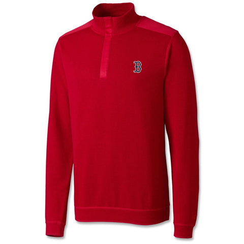 Boston Red Sox Cutter & Buck Red Edwards Knit 1/4 Zip