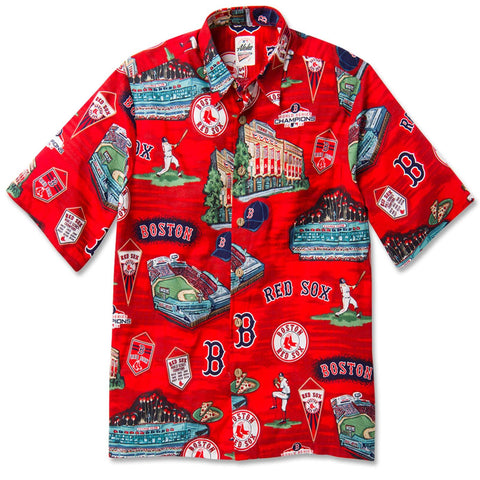 Boston Red Sox Reyn Spooner Red Facade Hawaiian Shirt.