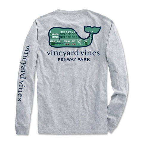 Boston Red Sox Long Sleeve Vineyard Vines Grey Green Monster Shirt. 100% cotton t-shirt