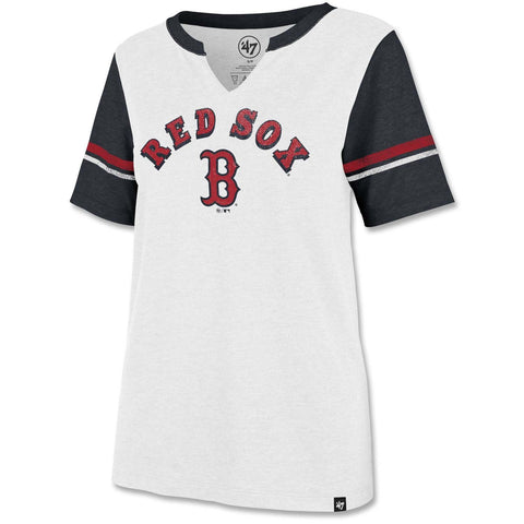 Boston Red Sox Ladies White/Navy Match Notch Tee