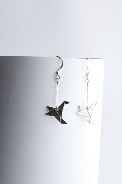 Origami Humming Bird earrings
