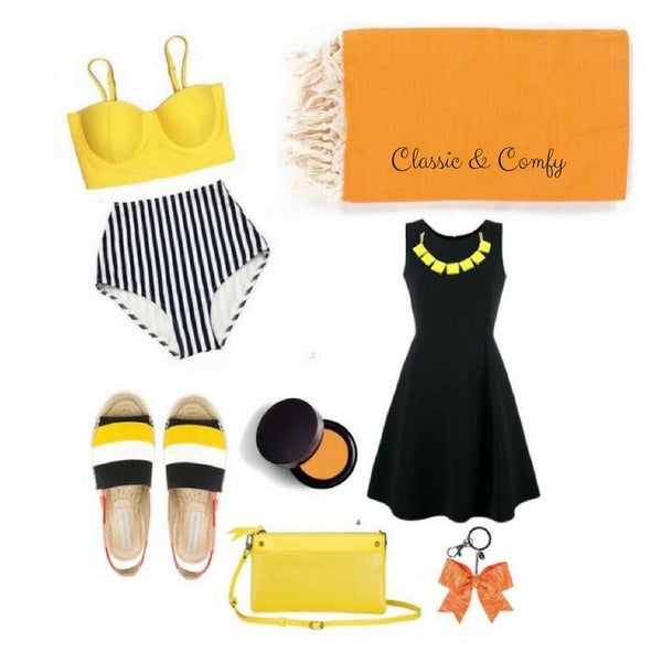 Perky and bright, but glam at night! Classic & Comfy hits the nail on the head, combining perennial joy-inducing yellow with pops of black, white and orange. You'll look so put together that once you pop that towel in your trunk and throw on the necklace and slides, nobody will even know you may still be a little sandy underneath!