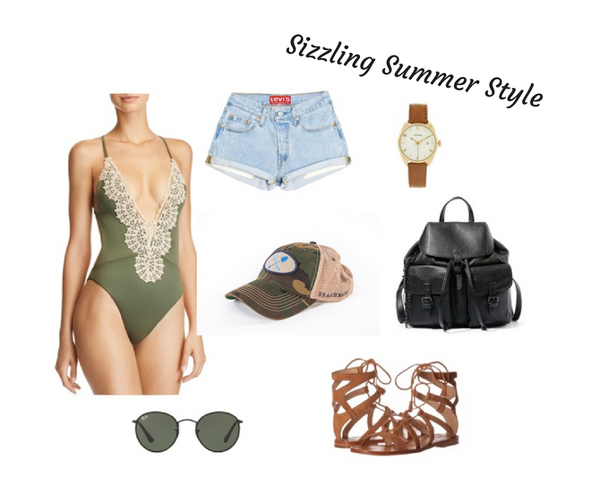 Sizzle in the sun in this gorgeous deep V-neck suit with lace edging, paired artfully with Beachmate's camouflage hat and a leather bag. Summer style at its hottest!