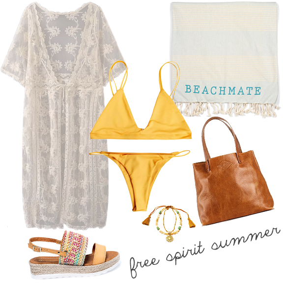 If boho chic is your style, this yellow two piece is the perfect base layer for this beach-to-boardwalk combination that is elevated by a free-spirited lace cover up, peep toe sandals, and a chunky necklace. Throw that Beachmate towel in your leather shoulder bag, and you're good to go grab an organic margarita with your gal pals!