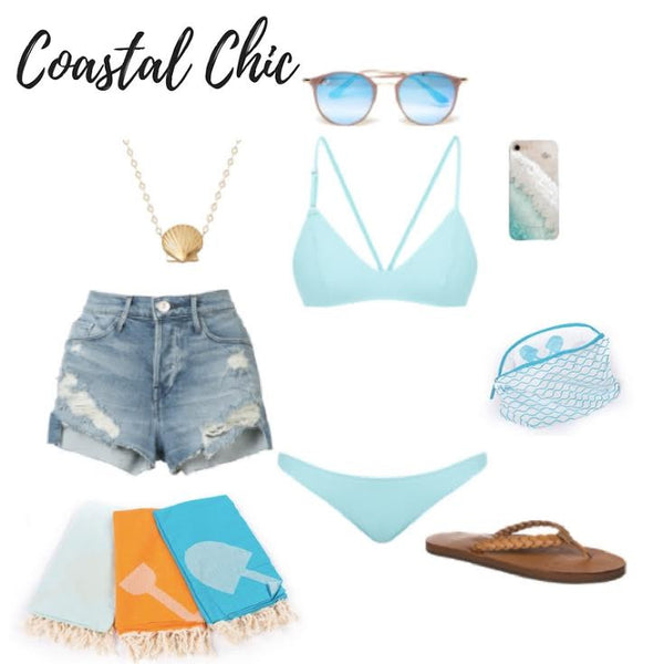 Feel young again as you hit the waves, the volleyball court, or even this pool in this SoCal inspired style combo. The unique straps on this teal bikini give it that youthful flair; we've paired it with classic-length cutoffs, leather braided sandals, a pair of sunnies, and a must-have golden necklace. Throw your phone into the Beachmate Accessories Bag and toss your Turkish towel over your shoulder, and you're all set for a day under the sun!