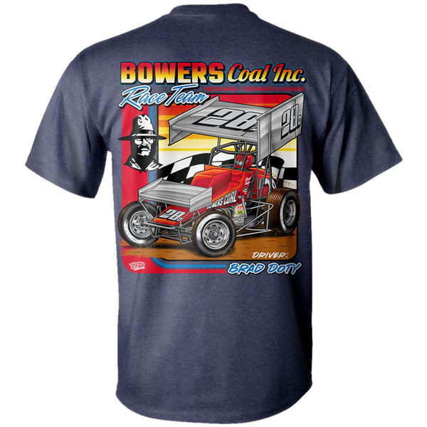 Brad Doty Bowers Coal Sprint Car Heather Navy T-Shirt Back