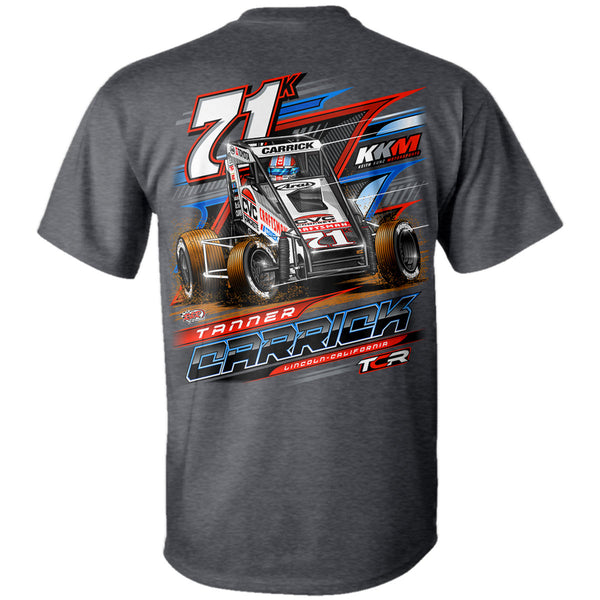 Tanner Carrick POWRi Midget Racing Dark Heather T-Shirt