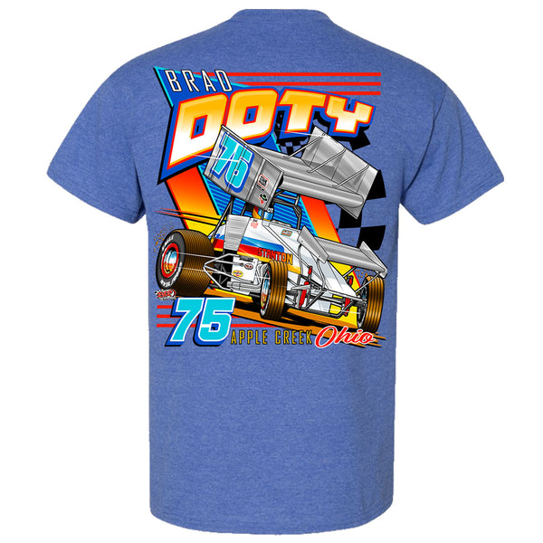 Brad Doty Stanton Sprint Car Heather Sport Royal T-Shirt Back