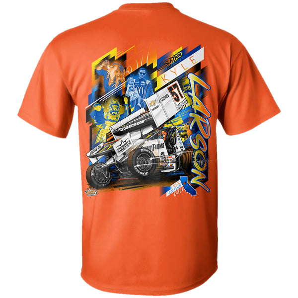 Kyle Larson Sprintcar Clean Air Katelyn Sweet NASCAR Orange t-shirt