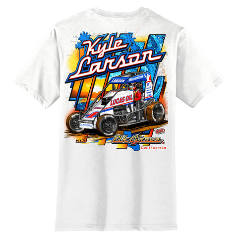 Kyle Larson Kin Chassis midget turkey night white shirt