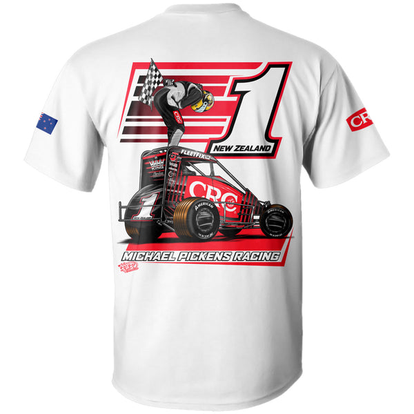 Michael Pickens USAC, POWRi, and Badger Victory White T-Shirt
