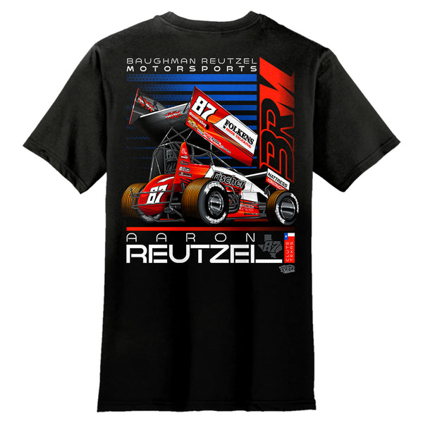 Aaron Reutzel Sprint Car Racing Black T-Shirt Back