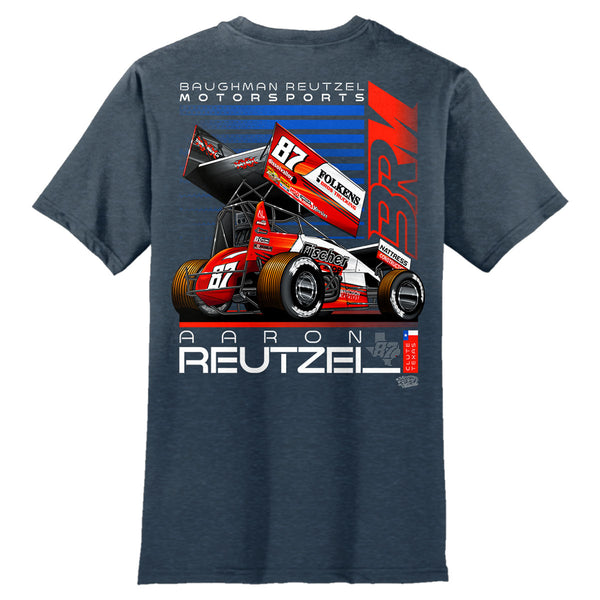 Aaron Reutzel Sprint Car Racing Heather Navy T-Shirt Back