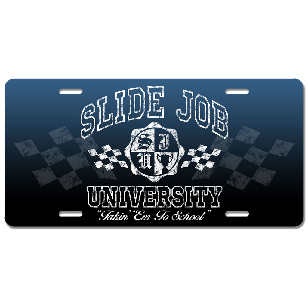 Slide Job University License Plate