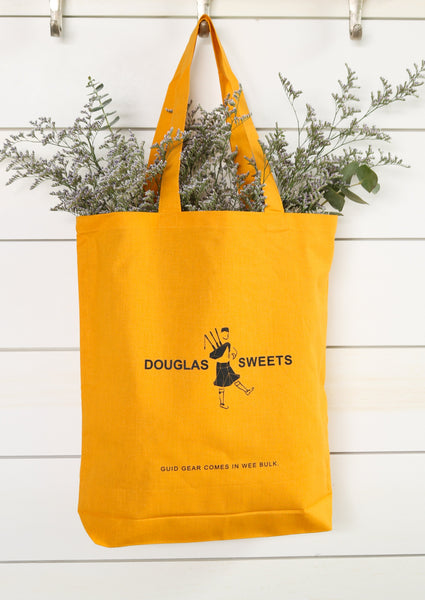 Douglas Sweets Mustard Yellow Cotton Tote Bag