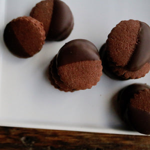 Double Dark Shortbread Cookies Dipped in Dark Chocolate