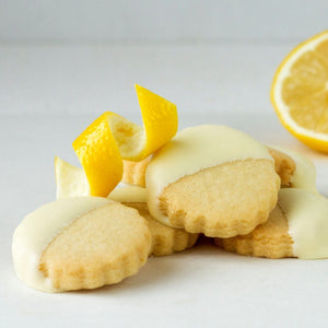 Rich lemon shortbread and Belgian white chocolate.